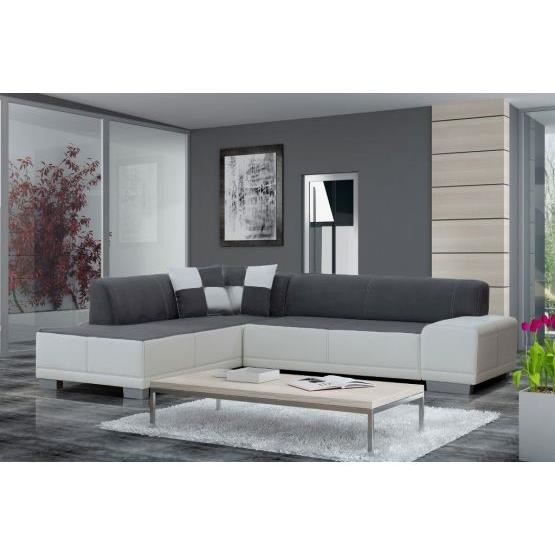 canap angle william gris blanc gauche achat vente canap sofa divan bois panneaux de. Black Bedroom Furniture Sets. Home Design Ideas