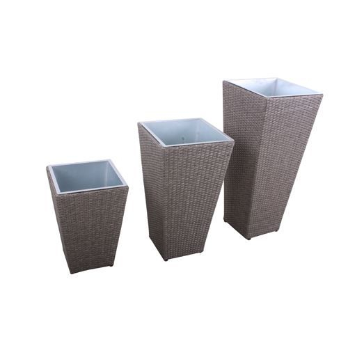 Lot de 3 cache pots d 39 ext rieur r sine tress e achat for Cache pot exterieur