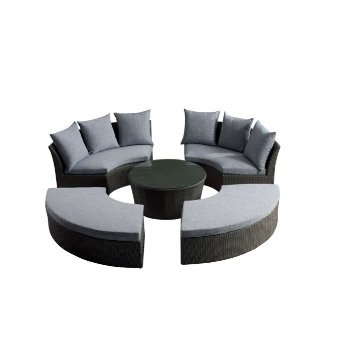 salon de jardin rilasa rond modulable 2 canap achat. Black Bedroom Furniture Sets. Home Design Ideas