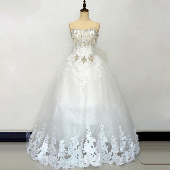Robe De Mariage Princesse De Luxe Perles Cherie Strass Robe De Mariee Blanc Achat Vente Robe De Mariee Cdiscount