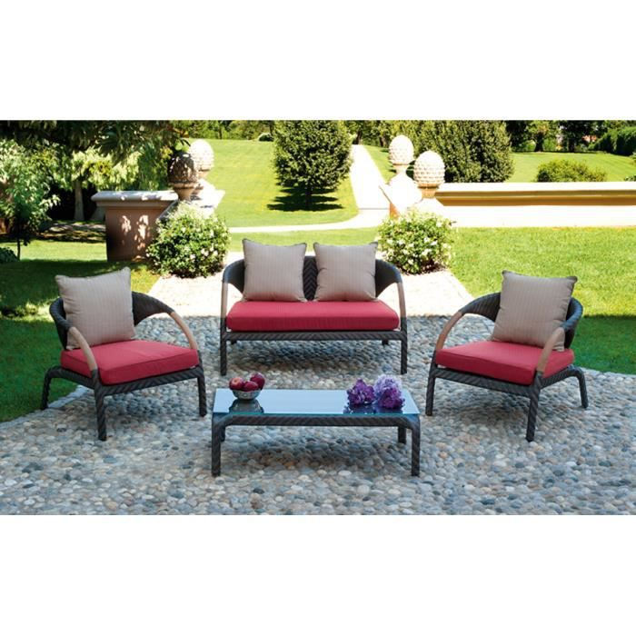 salon jardin de canap 2 fauteuils 1 table coloris rouge noir beige achat vente salon de. Black Bedroom Furniture Sets. Home Design Ideas