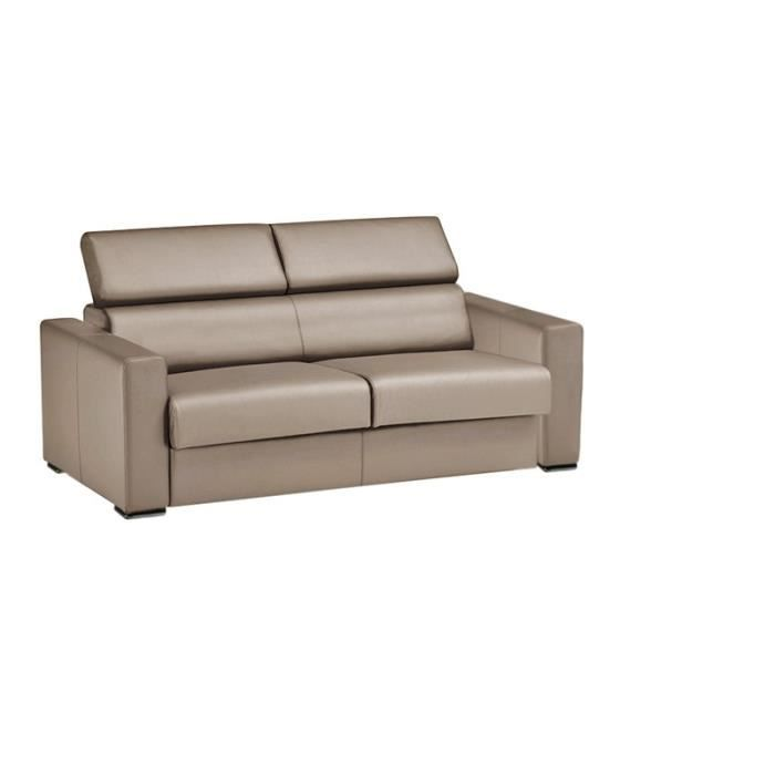Canap convertible omega cuir recycl taupe 160cm moncornerdeco - Canape cuir taupe ...