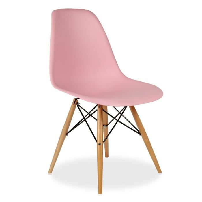 Chaise wooden color edition rose unica achat vente for Chaise rose