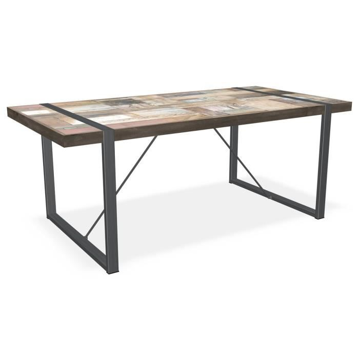 Table manger rectangulaire en teck recycl et achat for Table a manger rectangulaire
