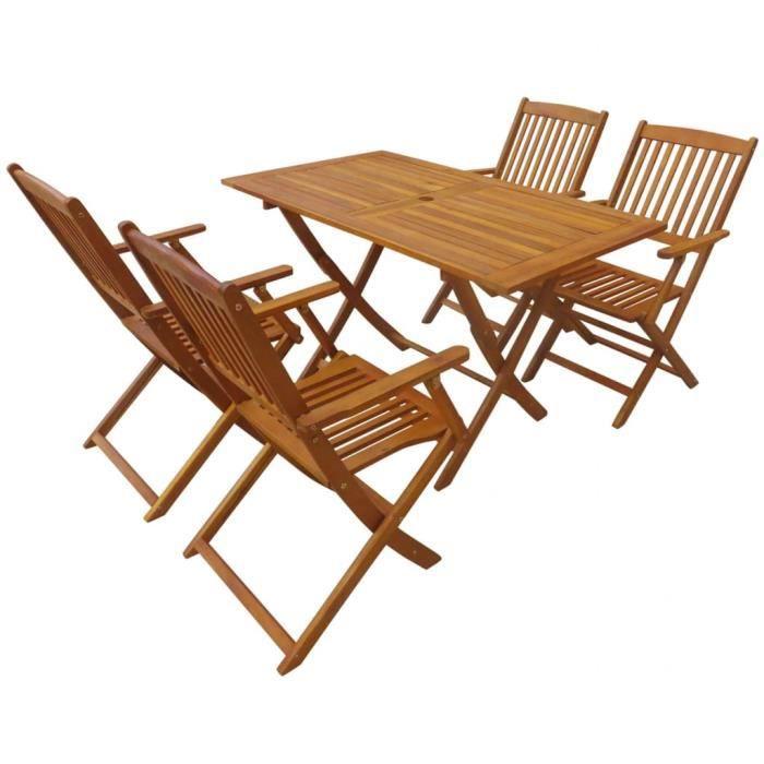 Vidaxl Mobilier D Exterieur 5 Pcs Bois D Acacia Massif Achat Vente Ensemble Table Et Chaise De Jardin Mobilier De Salle A Manger Cdiscount