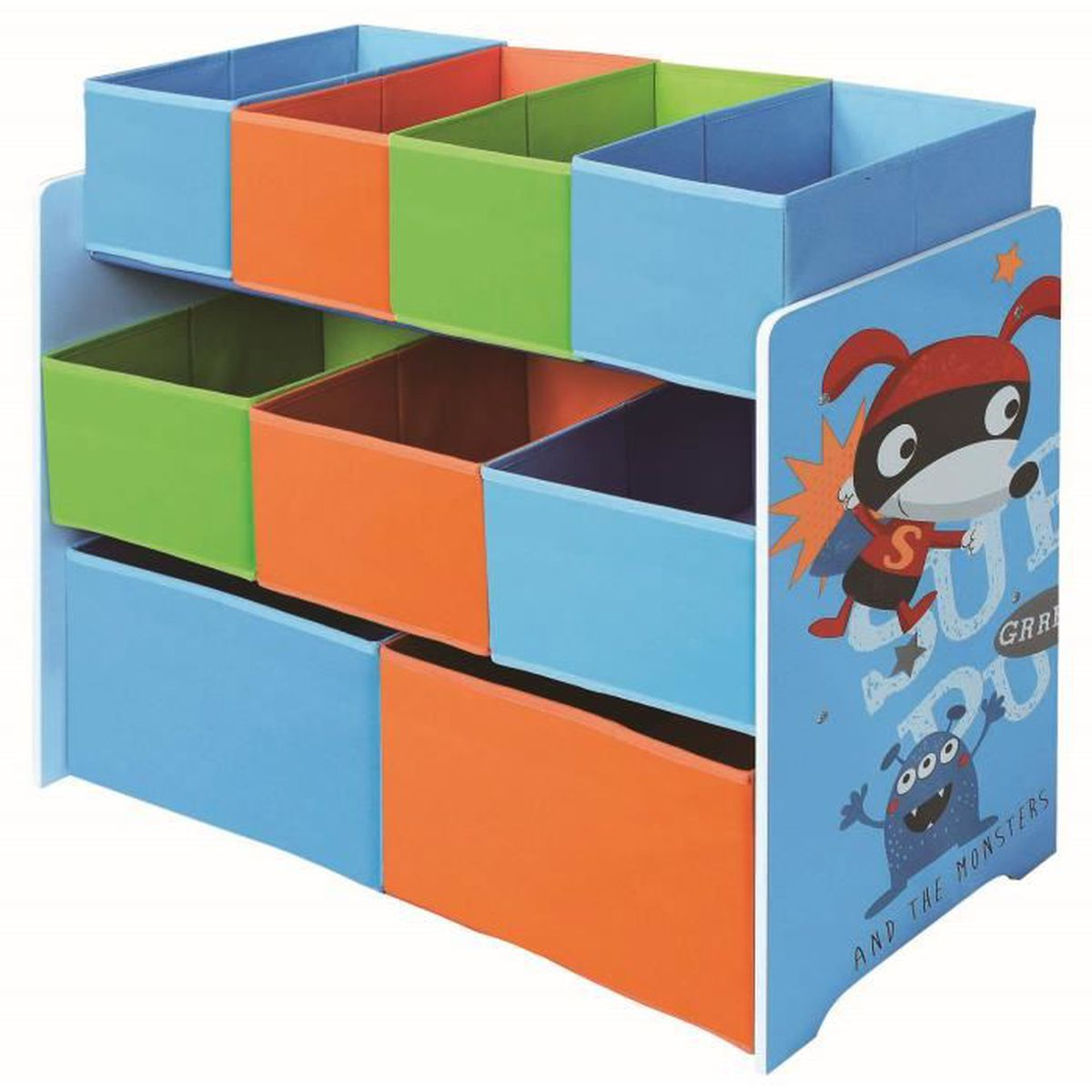 meuble de rangement pour enfant bleu motif super heros l. Black Bedroom Furniture Sets. Home Design Ideas