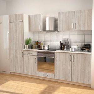 BUFFET DE CUISINE Ensemble d'armoires de cuisine 7 pcs avec hotte As