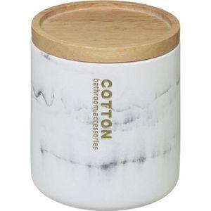 DISTRIBUTEUR DE COTON Five - Pot à coton en Bambou et polyrésine LEA Bla