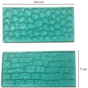 MOULE  Moule silicone 3D pierre brique pour pâte à sucre,