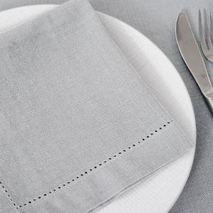 SERVIETTE DE TABLE Lot de 12 serviettes de table coloris gris clair -
