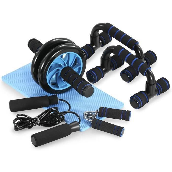 Appareils de Fitness 5 en 1 Roue Abdominale,Roue Abdominale + Poignée de Pompe + Corde à Sauter + Pince à Main + Tapis