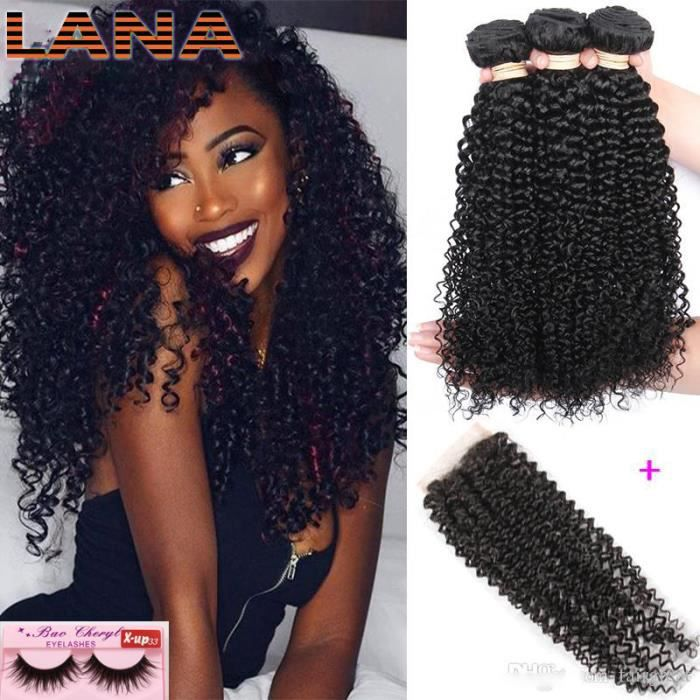 LANAN 3 tissage bresilien avec closure bouclés 9A 100g-p cheveux naturels 100% Humains virgin cheveux(18-18-18-+14-)