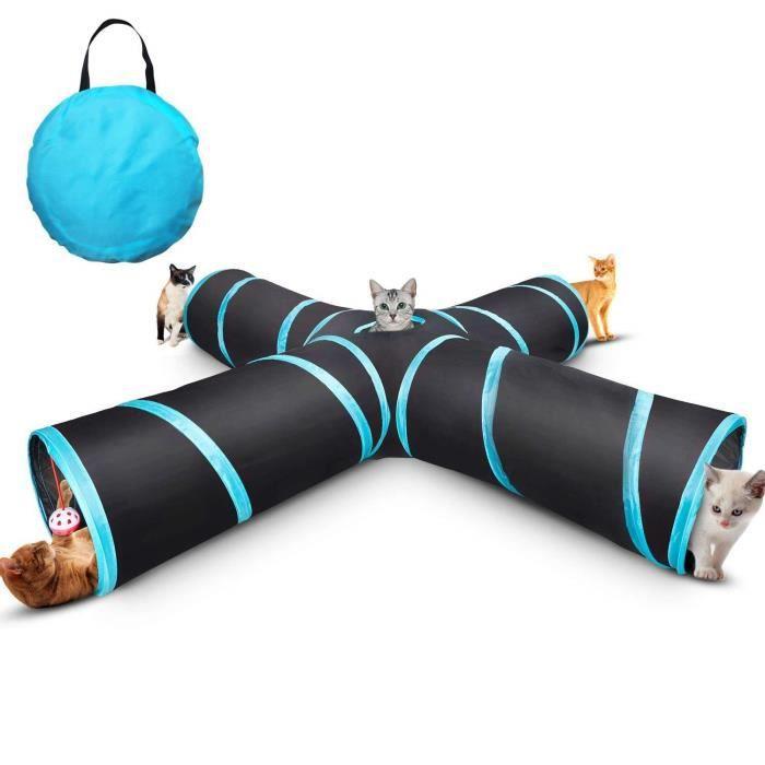 Jouet Pour Chat, Tunnel pour Chat avec 4 Canaux pliables, Myguru Chat Tunnel , Chat Accessoire Tunnel Pliable avec 2 Boules,avec Sac