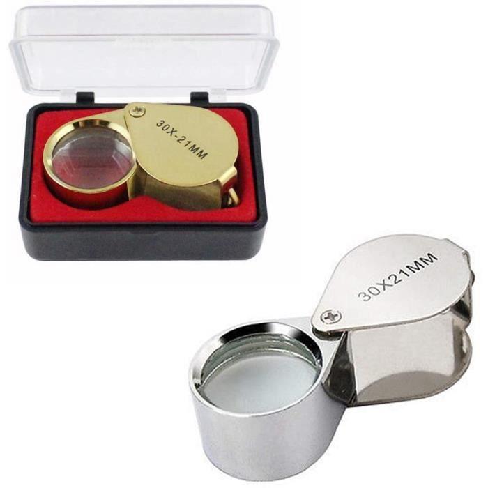 Loupe pliante 2 pièces, loupe 30x loupe avec boîtier de protection loupe en métal lentille en verre de 21 mm pour bijoutier ho479