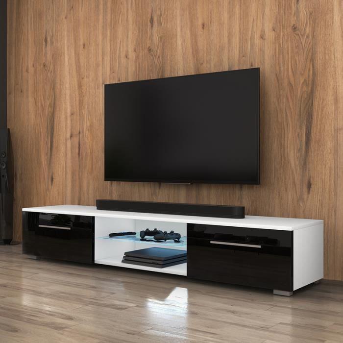 Meuble TV / Meuble salon - SYVIS - 140 cm - blanc mat / noir brillant - avec LED - style moderne