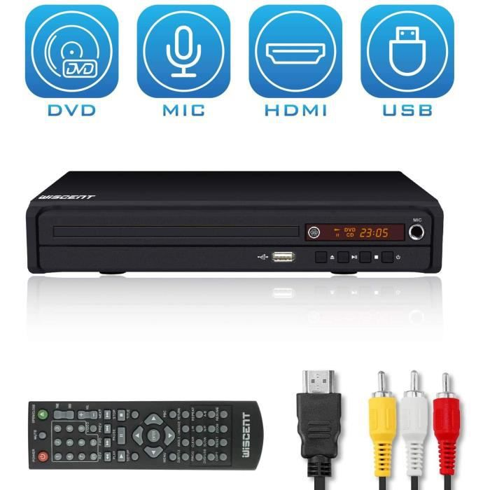 Lecteur DVD pour TV, DVD / CD / MP3 avec Prise USB, Sortie HDMI et AV (câble HDMI et AV Inclus), télécommande (sans Blu-Ray)