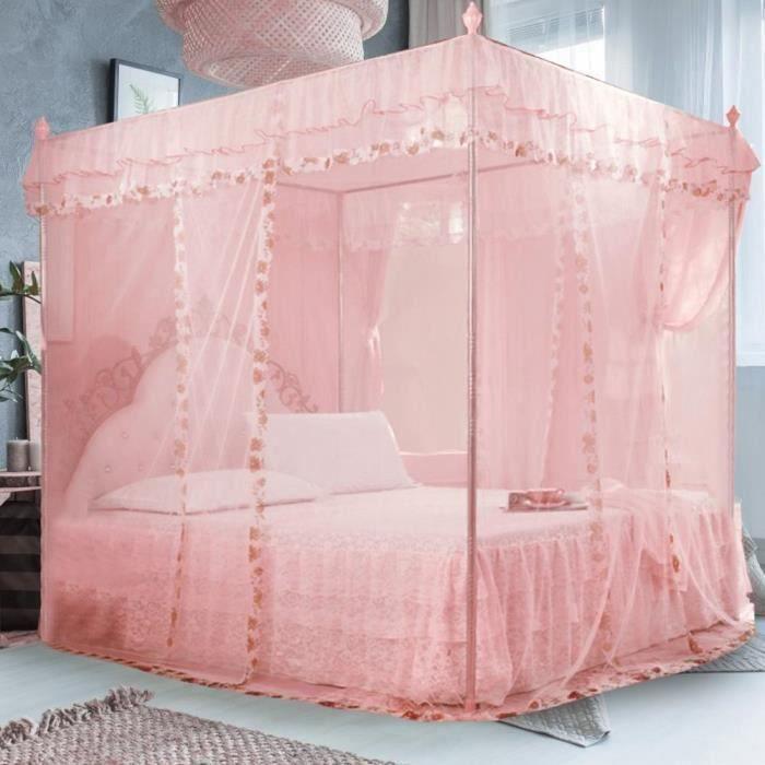 Princesse de luxe 3 ouvertures sur le côté Rideau de lit à baldaquin Filet Moustiquaire Literie (Rose S)