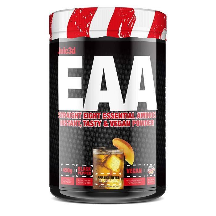 #sinob - Juic3d EAA. Extrêmement savoureux, instantané soluble et végétalien. 8 acides aminés essentiels sous forme pure. 1 x 450