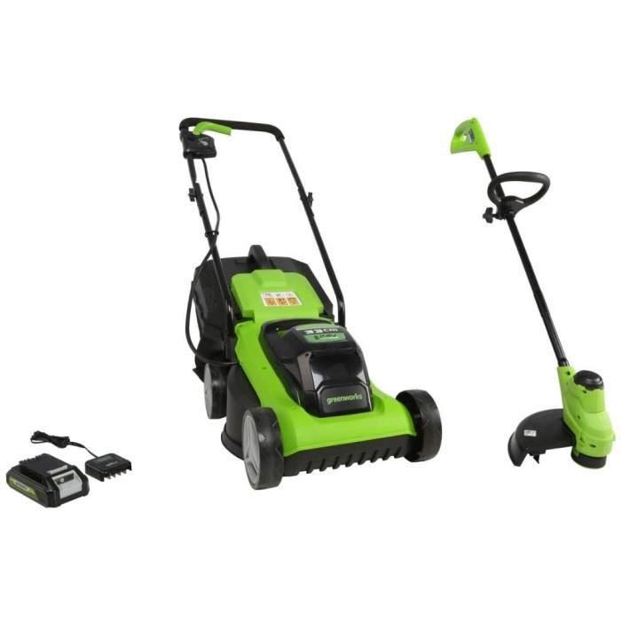 TONDEUSE Greenworks Tools Tondeuse &agrave Gazon et Coupe-bordure &agrave Batterie G24LMSTK2 (24 V Li-Ion jusqu'&agrave 250qm15
