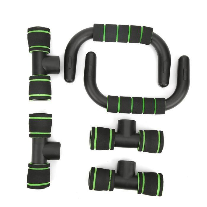 Barre de pompes support de fitness de sport en forme de H exerciseur musculaire équipement de fitness domestique(noir vert )-NIM