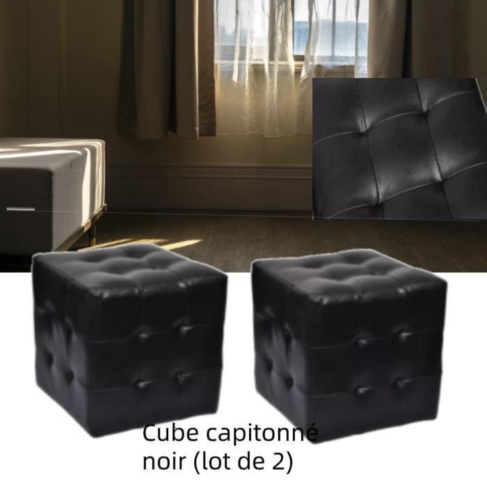 MEUBLE Pouf cube capitonné noir (lot de 2) simili cuir 30 × 30 × 30 cm Polyuréthane: 100% Tables de chevet - Zhihushop 28334