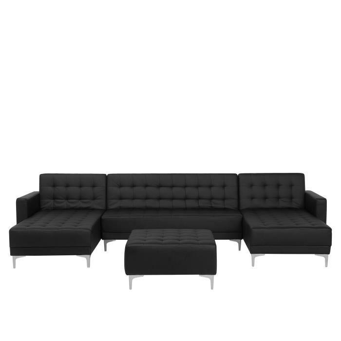 Beliani - Canapé en forme de U convertible en simili-cuir noir avec pouf ottoman ABERDEEN