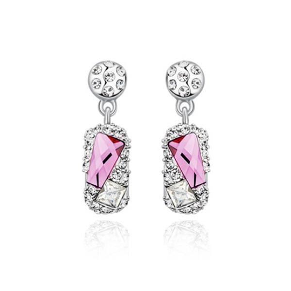 Boucles d'Oreilles Finesse en Cristal de Swarovski Elements Rose et Plaqué Rhodium
