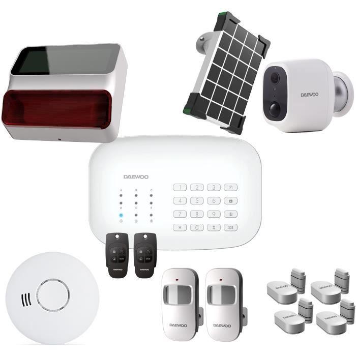 DAEWOO Pack Alarme Wifi / GSM - Modèle SA620 Livré Avec 10 Accessoires, 1 Caméra Et 1 Sirène