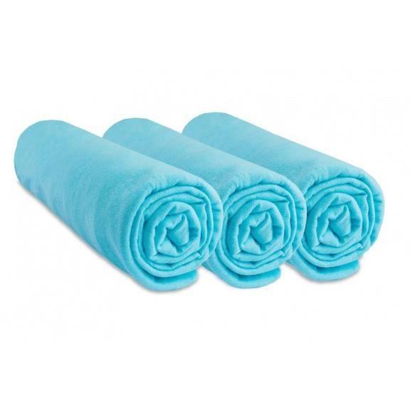 EASY DORT Lot 3 Draps housse 40x80 cm/40x90 cm - 100% Coton - Couffin Berceau Nacelle 40 x 80 cm Extensible 40 x 90 cm - Turquoise