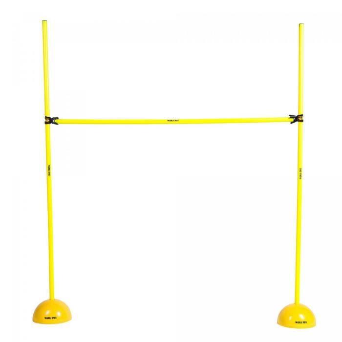 Haie d'entraînement - barre d'obstacle jaune pour saut, travail d'agilité et de coordination - Hauteur ajustable : 10,5 cm à 150 cm