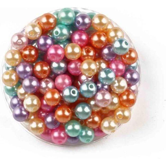 Perles acryliques nacrées rondes pastel 0,8 cm x 130 pcs - MegaCrea {couleur}