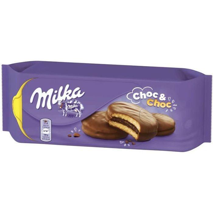 MILKA Choc & choc Biscuits moelleux fourrés enrobés