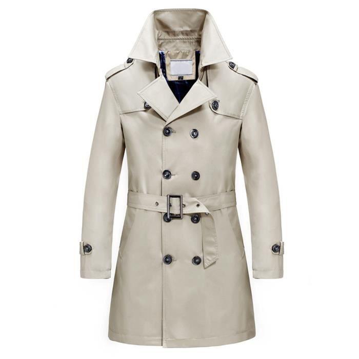 Trench-Coat homme long double boutonnage Slim Fit manteau Trench affaires commerciales avec ceinture