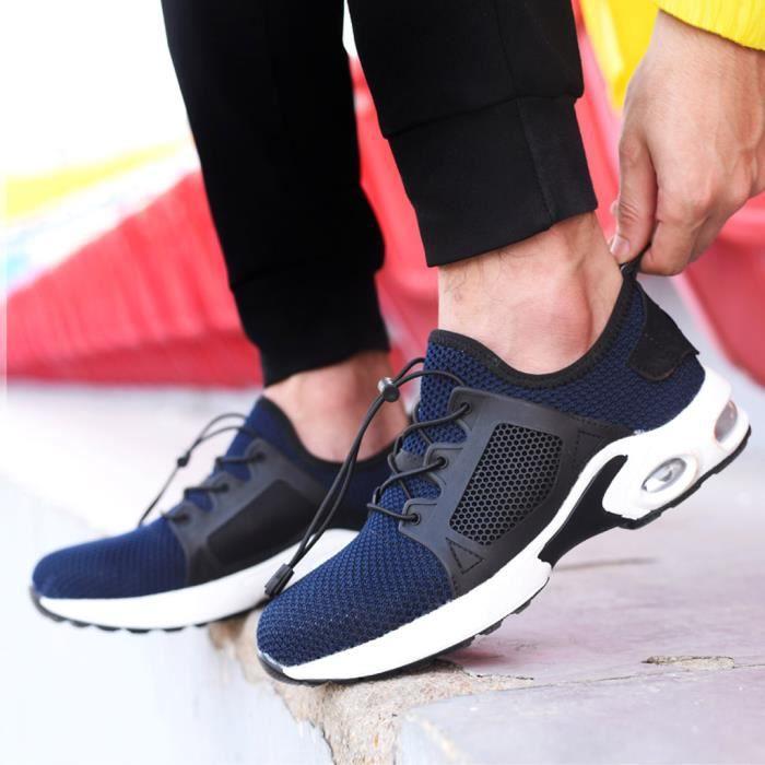 Baskets anti-fracas en acier pour hommes Chaussures de travail de sécurité respirantes et résistantes à l'usure zhizheyea Bleu
