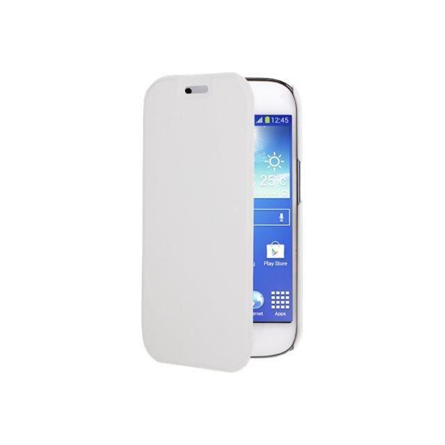 Swiss Charger - Etui folio slim en simili cuir pour Samsung Galaxy Ace 4 - Blanc
