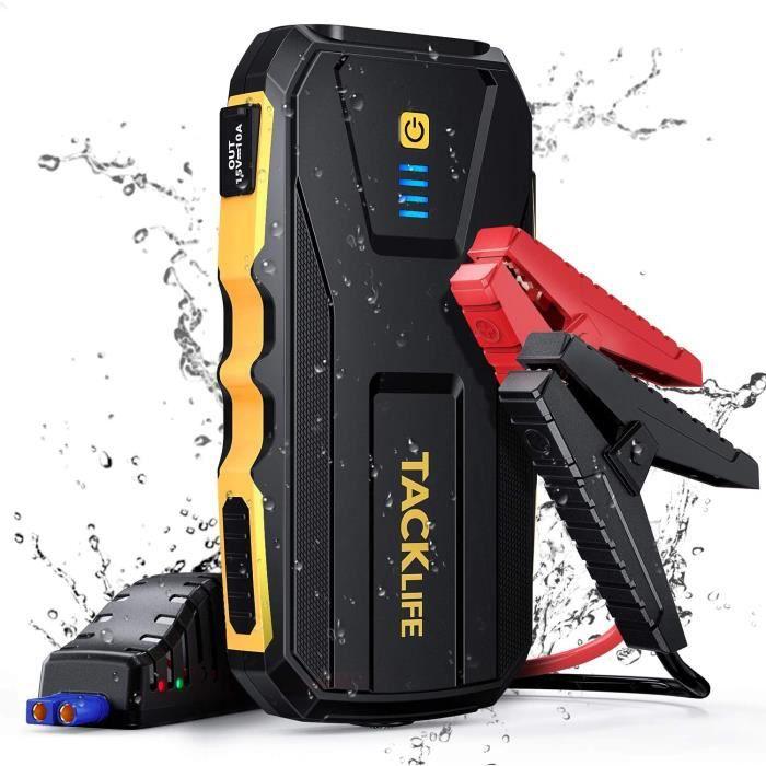 Booster Batterie Voiture 1500A IP65 TACKLIFE, Jusqu'à 8.0L Essence et 6.0L Diesel, Charge Rapide 3.0, Lampe de Poche LED - KP150