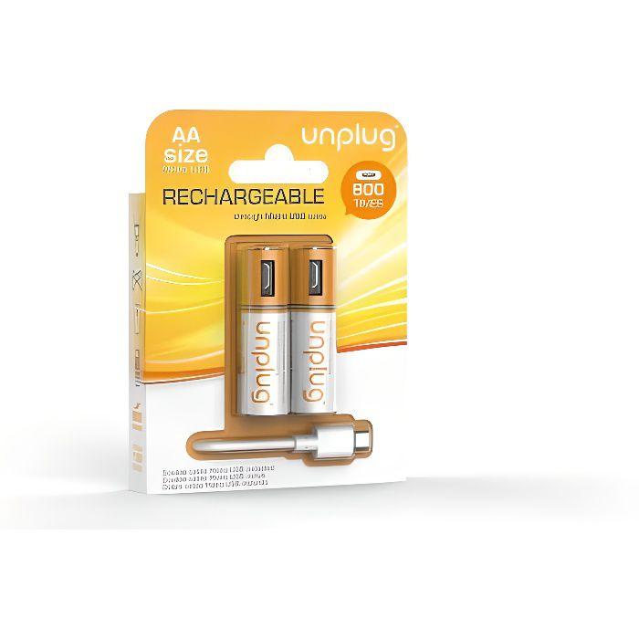 UNPLUG Piles Rechargeables AA Pack de 2 avec Câble Micro USB