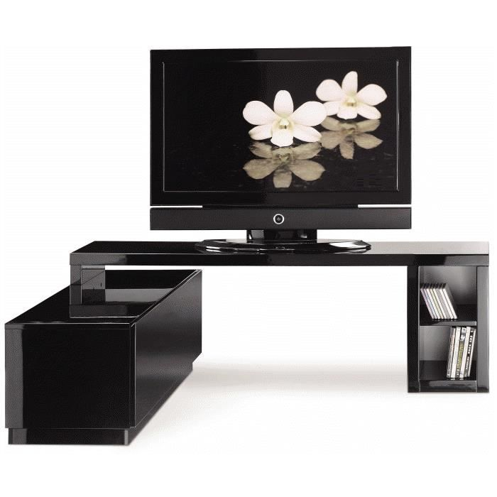 meuble tv modulable laqu blanc ou noir achat vente. Black Bedroom Furniture Sets. Home Design Ideas