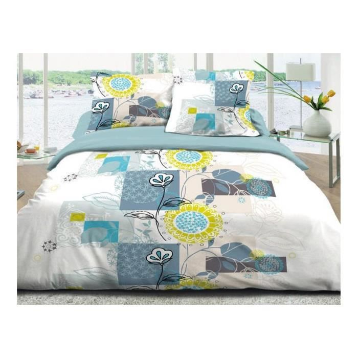 parure de lit 2 personnes 100 coton 160 x 200 cm bleu. Black Bedroom Furniture Sets. Home Design Ideas