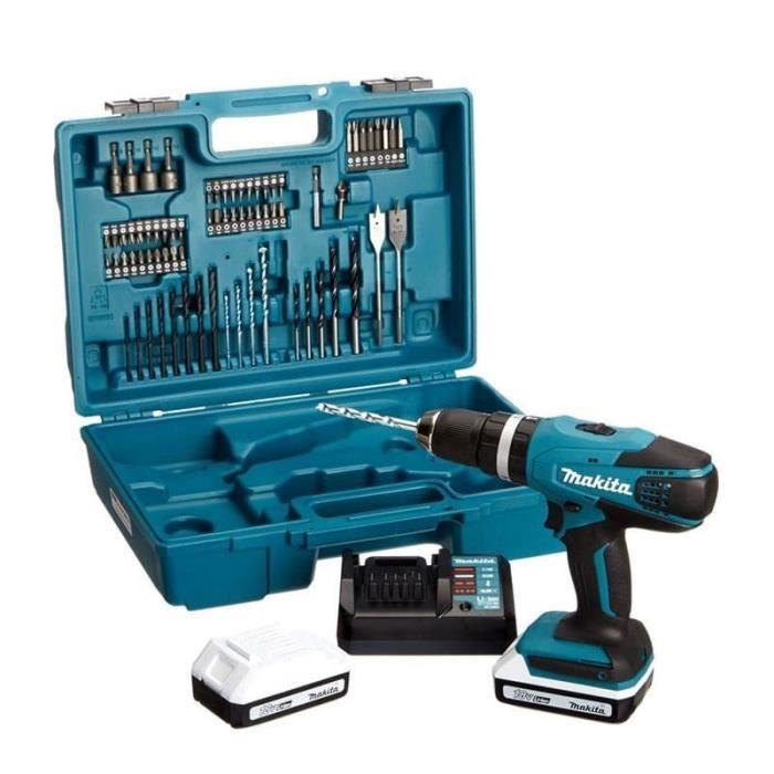 MAKITA Perceuse visseuse à percussion HP457DWE10 - 2x18V - 1,5Ah - 74 accessoires