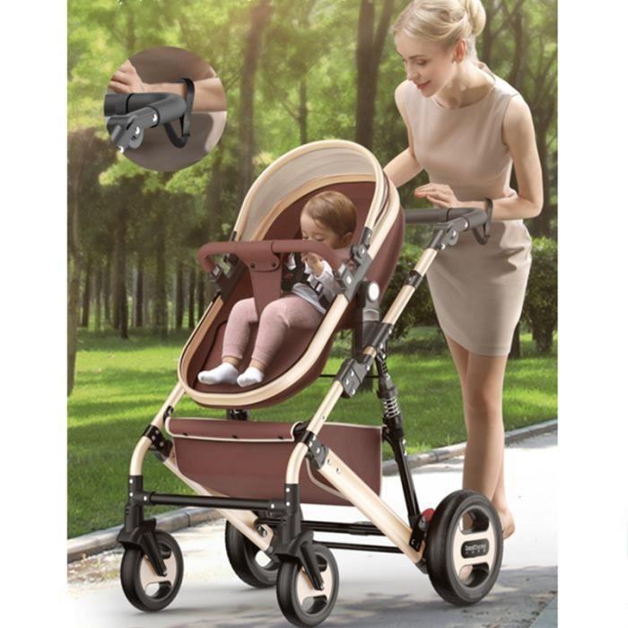 Bébé poussette peut s'asseoir inclinable pliant lumière portable
