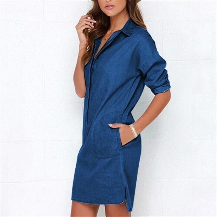 Robe Chemise Femme En Jean Manches 3 4 Col Roule Lache Leger Denim Bleu Fonce Achat Vente Chemise Chemisette Cdiscount