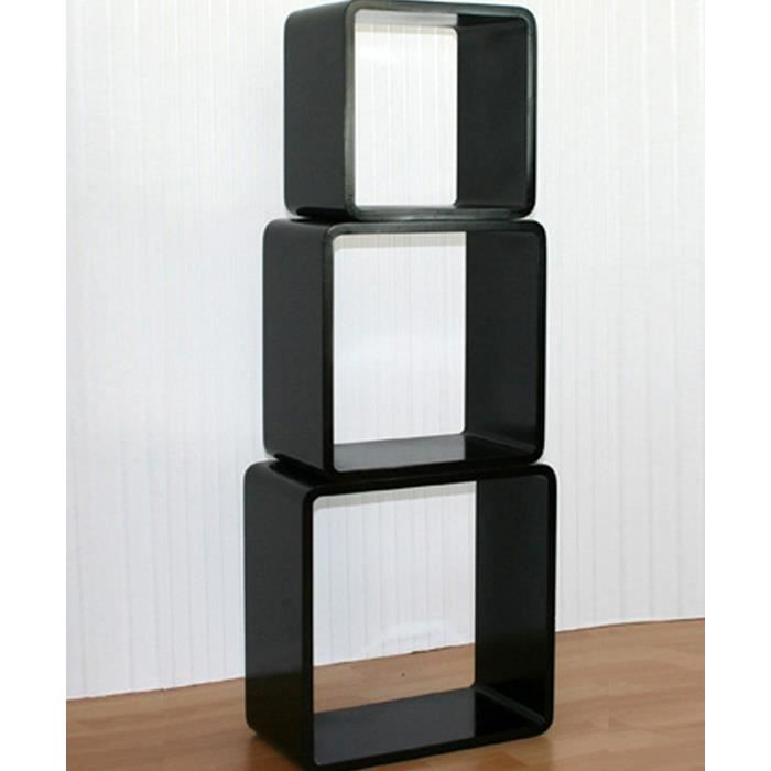 tag re cube murale carr de 3 pi ces noir achat vente. Black Bedroom Furniture Sets. Home Design Ideas
