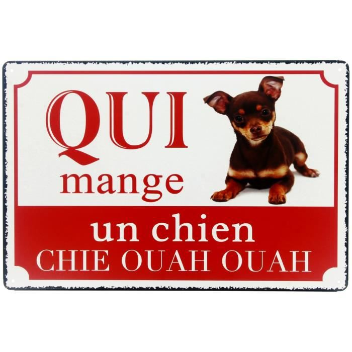plaque mural panneau en m tal chien attention danger design humour chie ouah ouah 20 x 20cm. Black Bedroom Furniture Sets. Home Design Ideas
