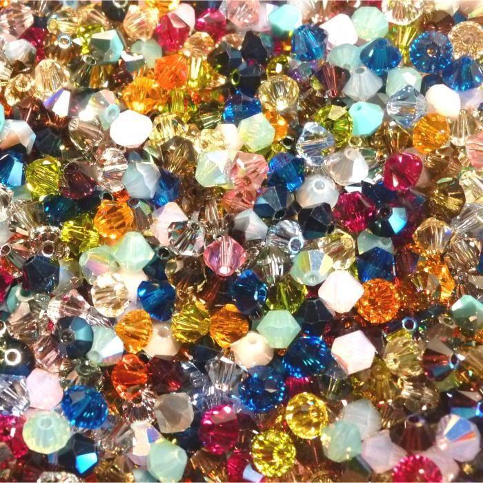 50 Perles Swarovski® Toupies 4mm MIX MULTICOLORE