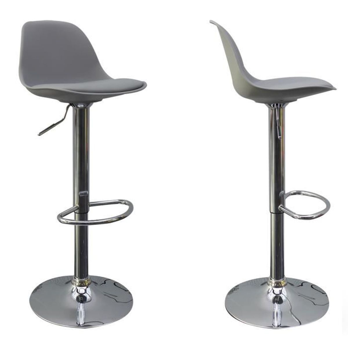 lot de 2 tabourets de bar design bobba couleur gris achat vente tabouret cdiscount. Black Bedroom Furniture Sets. Home Design Ideas