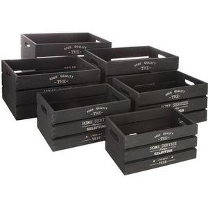 CASIER POUR MEUBLE Lot de 6 cagettes déco - Atmosphera Noir