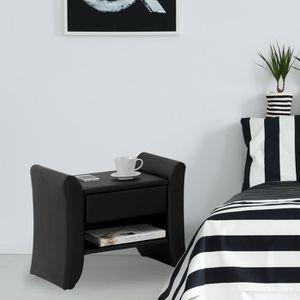 CHEVET Linden noir : table de chevet en simili noir avec