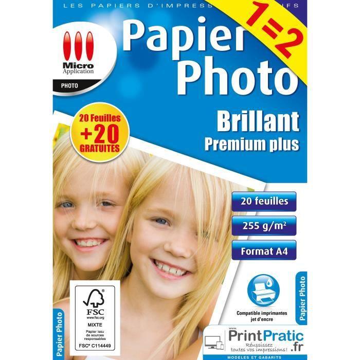 Papier Photo brillant A4 - Maxi Pack - 255 g/m² - 20 Feuilles + 20 offertes