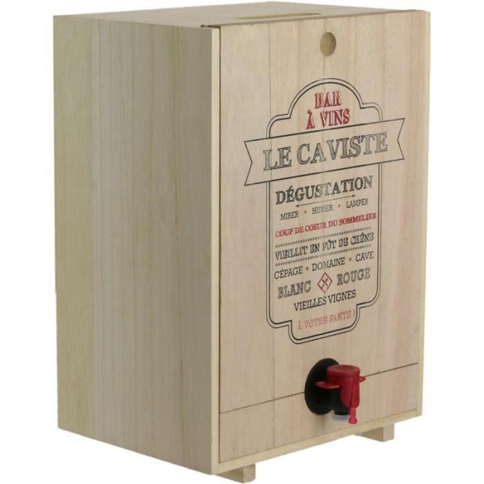 Totally Addict KV7233 Fontaine à boisson Distributeur robinet Cave Cache-cubis de vin Le caviste Ou Cuvée du jour Bois Beige 5L
